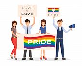 Lgbt Protesters Strike Vector Illustration. Cartoon Male, Female Activists With Rainbow Colored Plac poster