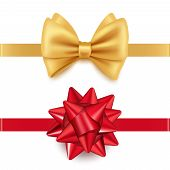 Vector Realistic Red And Golden Gift Bows Isolated On White Background. Illustration Of Ribbon Golde poster