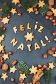 Feliz Natal Cookies. Words Merry Christmas En Portuguese With Baked Cookies, Christmas Decoration An poster