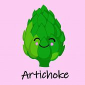 Artichoke Cute Anime Humanized Smiling Cartoon Vegetable Food Emoji Vector Illustration poster
