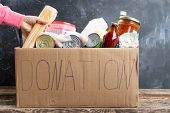 Woman Putting Food Into Donate Box, Donation And Charity Concept poster