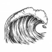 Rushing Foamy Tropical Ocean Marine Wave Vector. Dangerous Great Cool Standing Marine Surge Storm Ti poster