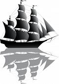 picture of pirate ship  - Black old ship with shadow isolated on white - JPG