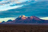 Volcano In The Atacama Desert At Sunset, San Pedro De Atacama, Atacama Desert, Chile, South America poster