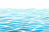 Blue Water Waves Perspective Landscape. Vector Horizontal Seamless Pattern poster