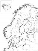 Map Of The Scandinavian Lands: Scandinavia, Sweden, Norway, Finland, Lapland, Karelia, Baltia, Denma poster