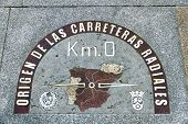 Kilometre Zero Point In Puerta Del Sol, Madrid, Spain