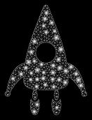 Flare Mesh Lunar Module With Sparkle Effect. Abstract Illuminated Model Of Lunar Module Icon. Shiny  poster