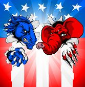 Donkey And Elephant Tearing Through The Background. American Politics Election Concept With Animal M poster