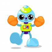 Cute Robot Character Vector Illustration On White Background. Robot Boxer With Orange Boxing Gloves. poster