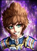 Jacob Fireheart Character Portrait Anime Style Illustration. poster