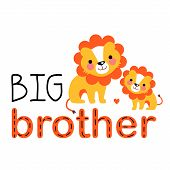 Two Cute Lion Cubs Are Smiling Each Other. Big Brother Gives His Love To The Little One. Big Brother poster