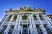 Facade Front Entrance Statues Saint John Lateran Papal Cathedral Church Rome Italy. One Of 4 Papal B poster