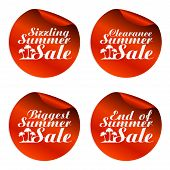 Red Summer Sale Stickers Sizzling,clearance,biggest,end Of.vector Illustration poster
