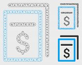 Mesh Invoices Model With Triangle Mosaic Icon. Wire Frame Triangular Mesh Of Invoices. Vector Collag poster
