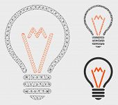 Mesh Lamp Bulb Model With Triangle Mosaic Icon. Wire Frame Polygonal Mesh Of Lamp Bulb. Vector Mosai poster