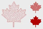 Mesh Maple Leaf Model With Triangle Mosaic Icon. Wire Frame Triangular Mesh Of Maple Leaf. Vector Mo poster