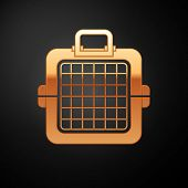Gold Pet Carry Case Icon Isolated On Black Background. Carrier For Animals, Dog And Cat. Container F poster