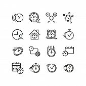 Time Concept Icons. Set Of Line Icons. Accelerated Time, Calendar With Clock, Video Timer. Time Conc poster