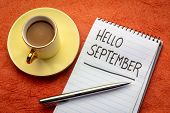 Hello September  - handwriting in a notebook with a cup of coffee poster