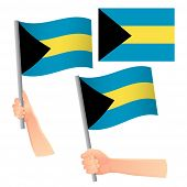 Bahamas Flag In Hand. Patriotic Background. National Flag Of Bahamas Vector Illustration poster