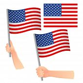 United States Of America Flag In Hand. Patriotic Background. National Flag Of United States Of Ameri poster