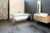 foto of lavabo  - Big contemporary bathroom with new glass bathtub - JPG