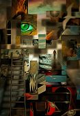 Complex surreal painting. Geometric elements, eye of God, flames of fire and ladder. Elements of hum poster