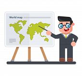 Geography Teacher With A Pointer In His Hand Shows A Map Of The World. Schooling. Flat Character Vec poster