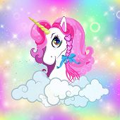 Unicorn Head With Pink Mane Portrait On Bright Rainbow Kawaii Universe Space Or Sky Holographic Back poster