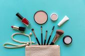 Makeup Cosmetics Tools Background And Beauty Cosmetics, Products And Facial Cosmetics Package Lipsti poster