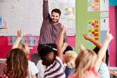 Elementary Pupils Raising Hands To Answer Question As Male Teacher Reads Story In Classroom poster