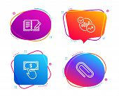 Statistics, Payment Click And Feedback Icons Simple Set. Paper Clip Sign. Report Charts, Financial T poster