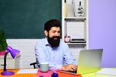Male Teacher Near Blackboard. Smiling Male Student Studying In School. Happy Student Or Man Teacher. poster