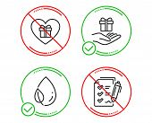 Do Or Stop. Loyalty Program, Leaf Dew And Romantic Gift Icons Simple Set. Survey Checklist Sign. Gif poster