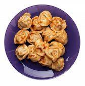 Dumplings On A Purple  Plate Isolated On White Background. Dumplings In Tomato Sauce. Dumplings Top  poster
