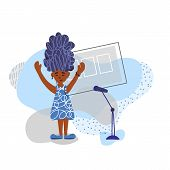 Singer With Microphones Stay Isolated. Girl Simple Characters. poster