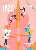 Jazz Festival Vertical Banner. People, Men And Women Characters Playing On Huge Cello. Concert Invit poster