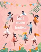 Best Music Festival Vertical Banner. Diverse Multiracial Man And Woman Characters In Festive Clothes poster