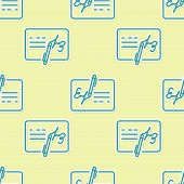 Green Signed Document Line Icon Isolated Seamless Pattern On Yellow Background. Pen Signing A Contra poster