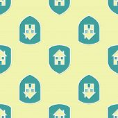 Green House Under Protection Icon Isolated Seamless Pattern On Yellow Background. Home And Shield. P poster