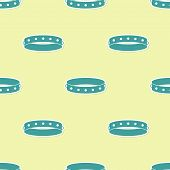 Green Leather Fetish Collar With Metal Spikes On Surface Icon Isolated Seamless Pattern On Yellow Ba poster
