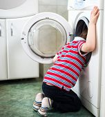 Little Baby Boy Dangerously Putting His Head Into Washing Machine Drum