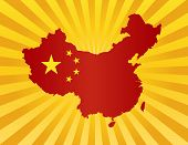 China Flag In Map Silhouette Illustration