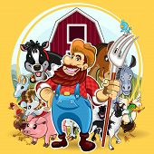 stock photo of cattle dog  - An Illustration of Farm Life.