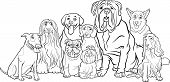 Purebred Dogs Group Cartoon For Coloring poster