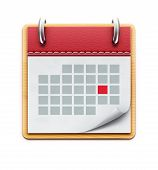 picture of leather-bound  - illustration of detailed beautiful calendar icon isolated on white background - JPG