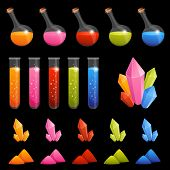 collection of colorful alchemy elements