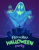 stock photo of graveyard  - Spooky ghosts on graveyard - JPG