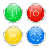 Set Of Multimedia Buttons. Vector Illustration